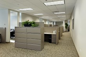 Large office in Las Vegas after professional steam carpet cleaning.
