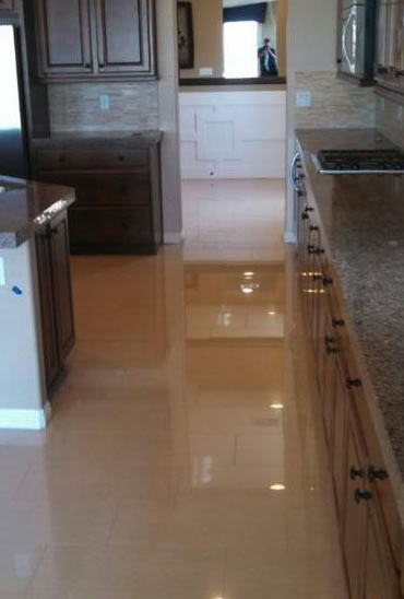 Stone floor cleaning and polishing at Las Vegas home.